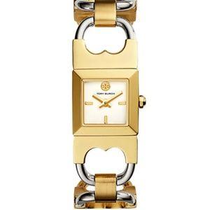 Tory Burch double t two-tone link bracelet watch